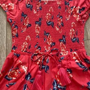 Justice tropical coral dress 100% viscose/rayonne